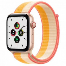 APPLE Watch SE GPS + Cellular, 44mm Gold Alum. Case with Maize/White Sport Loop