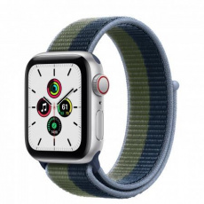 APPLE Watch SE GPS + Cellular, 40mm Silver Alum. Case with Abyss Blue/Moss Green Sport Loop