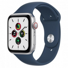 APPLE Watch SE GPS + Cellular, 44mm Silver Alum. Case with Abyss Blue Sport Band - Regular