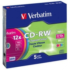 VERBATIM CD-RW(5-Pack)Slim/Colours/Hi Speed/8x-12x/700MB